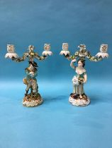 A pair of Continental porcelain figural candelabras