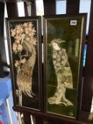 Two framed Maw and Co. Ltd tubeline majolica hand decorated tiles, 60 x 19cm