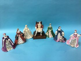 A collection of Wedgwood figures to include Henry VIII and his six wives (7)