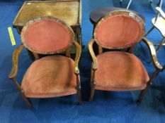 A pair of walnut Art Deco style armchairs
