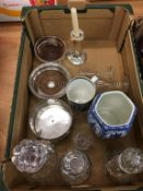 Wine coasters and Georgian decanters with silver labels etc.