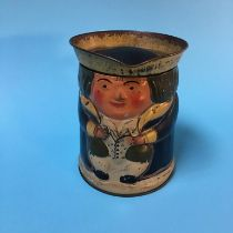 A Huntley and Palmer Toby jug biscuit tin