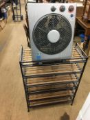 A fan heater and a shoe rack