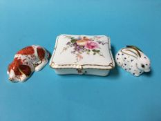 Two Royal Crown Derby paperweights and a trinket box