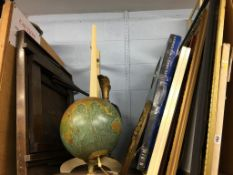 A globe, prints and games table etc.