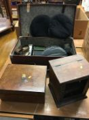 A suitcase containing assorted Naval ephemera and a Bosuns whistle etc.