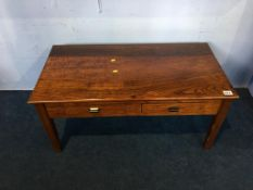 An oak two drawer side table