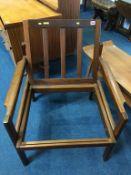 A teak armchair frame