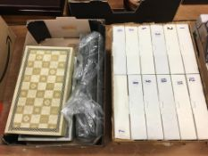 A quantity of collectors plates and two Lord of the Rings chess sets