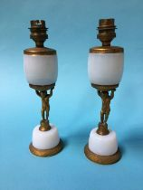 A pair of opaline table lamps, 26cm high