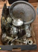 A quantity of silver plate, to include a hip flask etc.