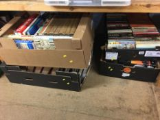 Five boxes of books