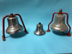 Three chrome plated fireman's bells, 19cm, 25cm, 25cm, approx.