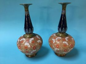 A pair of Doulton Lambeth vases (a/f)