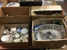 Four boxes of assorted, to include tea china and meat plates etc.