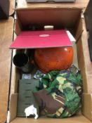 A tray of assorted, to include a helmet, and shell cases etc.