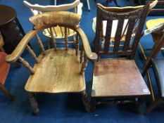 Two elm smokers bow and carved antique chair