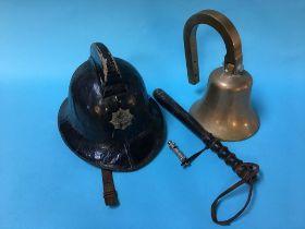 A fireman's helmet, a brass bell and a truncheon etc.