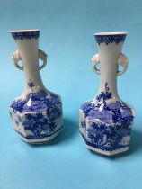 A pair of Japanese blue and white vases