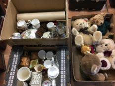 A collection of various bears, to include Harrods and two boxes of assorted
