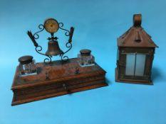 A copper lantern and an oak desk tidy