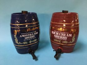 Two ceramic sherry barrels