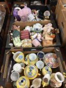 Three trays of assorted china