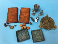 A tray of assorted brass and a compass etc.