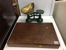 Chess pieces and a set of scales