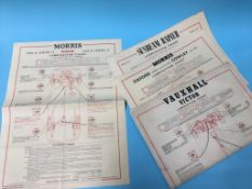 A collection of 1950's / 1960's motoring 'Lubrication' wall charts to include: Vauxhall Victor,