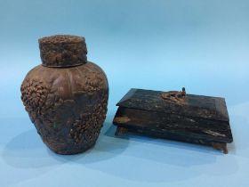 An Onyx box and an Oriental cast metal tea caddy