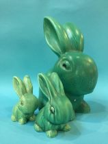 A large Sylvac rabbit and two others