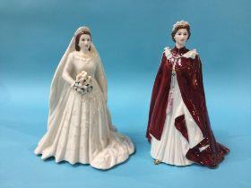 Two Royal Worcester figures, Queen Elizabeth II