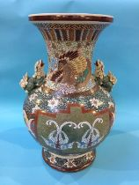 A large Satsuma vase and an Oriental stool