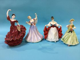 Four various figures, including Royal Doulton and Coalport etc.