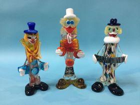 Three Murano clowns