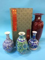 An Oriental vase and three Indian vases