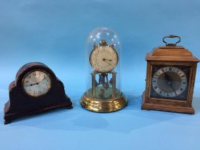 A walnut mantle clock and two others (2)