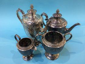 A plated four piece tea set