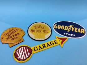 Four reproduction cast metal signs
