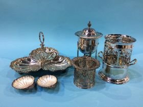 Assorted silver plate, wine coasters etc.