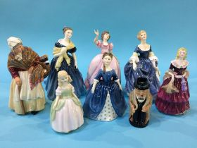 Collection of Royal Doulton and Royal Worcester figures and a Toby jug