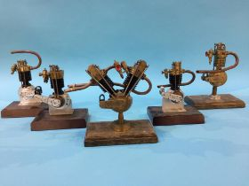Five model vintage motorcycle engines, 2 x Stamped JAP, then BSA, AJS & REX. Size 16cm to 19cm