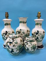 Mason's 'Chartreuse', pair of lamps, two Ginger jars and a vase