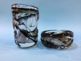 Two pieces of Whitefriars glass