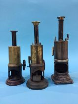 Three tin plate vertical engines