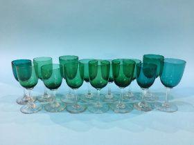 Fourteen antique glasses