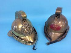Two modern Fireman's helmets