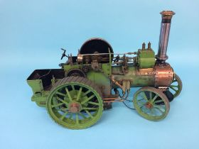 A live 3/4 inch scale model traction engine, 44cm length x 30cm height