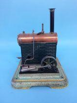 A model spirit fired engine, stamped A. Trute, Halberstadt, Germany, 19cm width